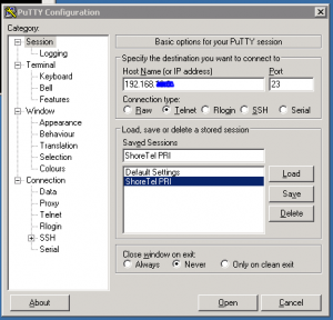 PuTTy settings for connecting to a ShoreTel switch.